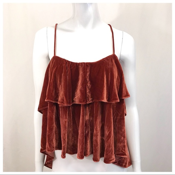 Madewell Tops - Madewell Velvet Ruffle Camisole Cross Back Top